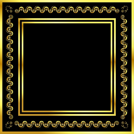 metallic border: Gold pattern frame with waves and stars
