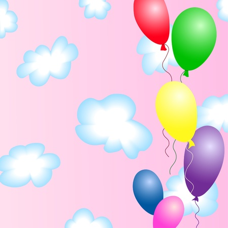 Colourful balloons in the pink sky with blue clouds Vector