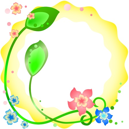 Wavy yellow spring frame with flowers and leaves Vector
