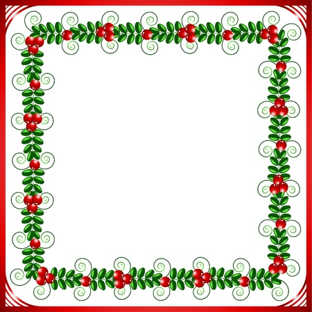 summery: Red frame with leafs and berries on a white background Illustration