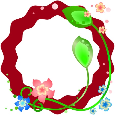 Wavy claret spring frame with flowers and leaves Vector