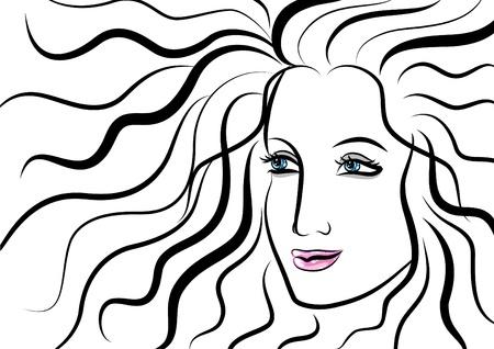pelo ondulado: Bello rostro de mujer con el pelo ondulado Vectores