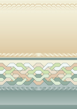 Vintage background with braided pattern in beige and blue colors Vector