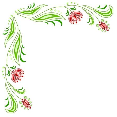 floral border: Frame of floral motive on a beige background