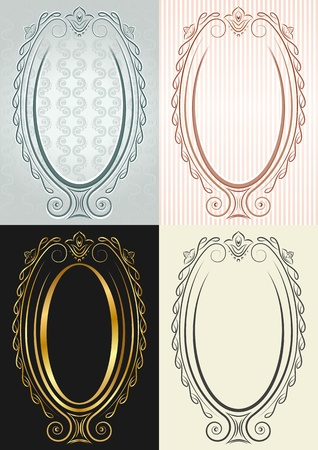 admirable: Four vertical frames in antique style. Oval