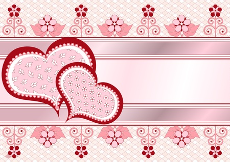 Valentine postcard with ribbons, pattern and flowers_frame Illusztráció