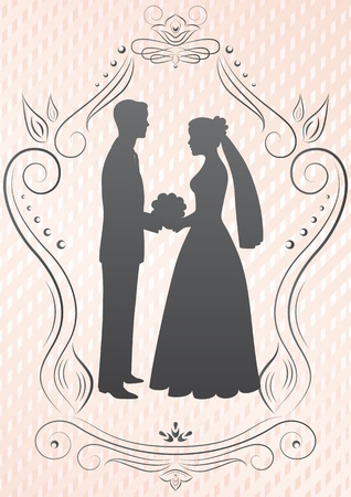 Silhouettes of the bride and groom in a frame on a pink background
