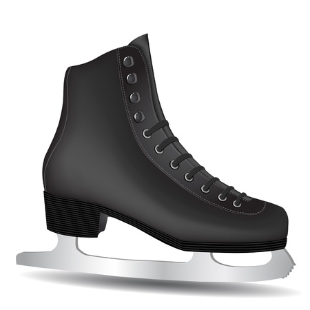 figure skates: Isolated Black Skate on a White Background