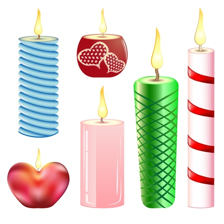 A collection of varied candles of different types Vector