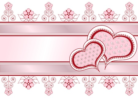 Valentine postcard with ribbons, pattern and flowers_frame Vector