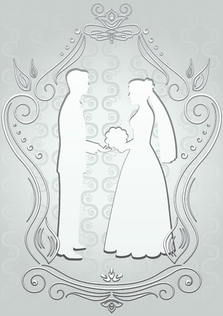 Silhouettes of the bride and groom in a frame on a blue background