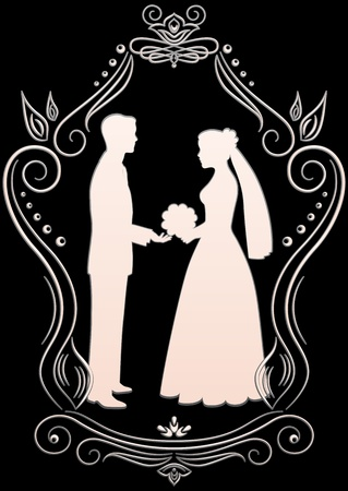 Silhouettes of the bride and groom in a frame on a dark background Vector