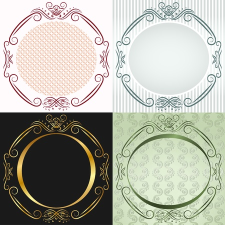 Four inwrought frames in antique style. Round Vector