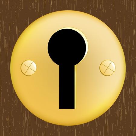 暗い木製のドアに金色の金属製のドアの鍵穴
