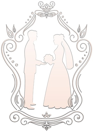 Silhouettes of the bride and groom in a frame on a white background