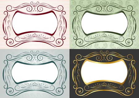 golden border: Four inwrought frames in antique style. Horizontal
