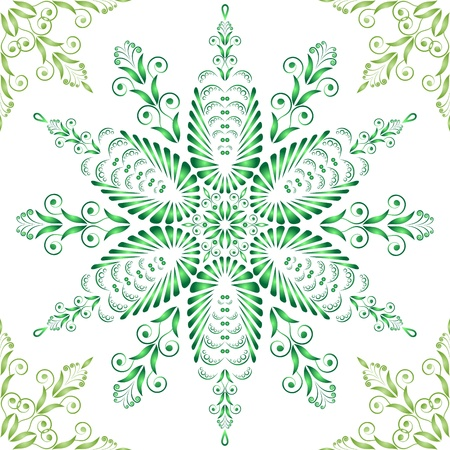 Admirable square green pattern on a white background