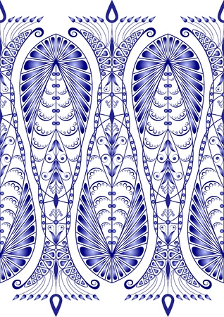 Admirable blue pattern on a white background. Seamless Vector