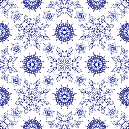 Admirable square blue pattern on a white background. Seamless Stock Vector - 14272922