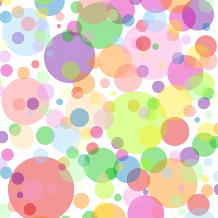 colors: White square background with multicoloured bubbles