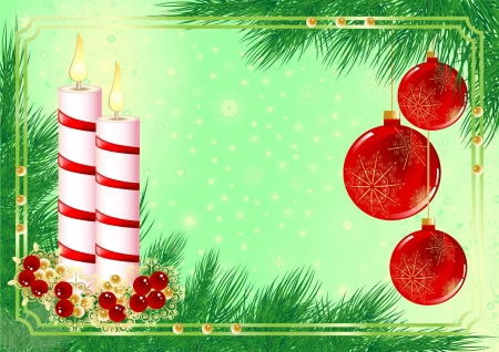 Christmas frame with candles and fir tree Vector