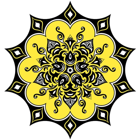 Kaleidoscopic floral pattern. Mandala in yellow black and white