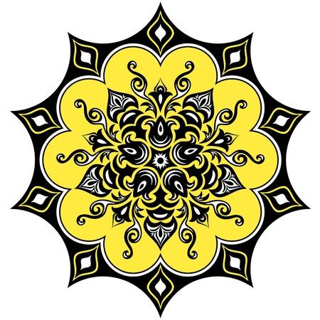 black carpet: Kaleidoscopic floral pattern. Mandala in yellow black and white