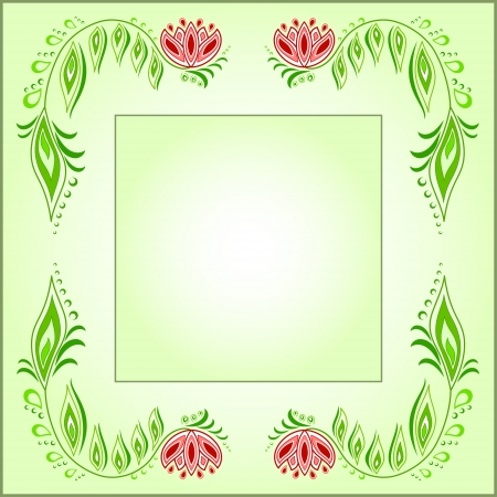Square frame of floral motive on a green background Vector