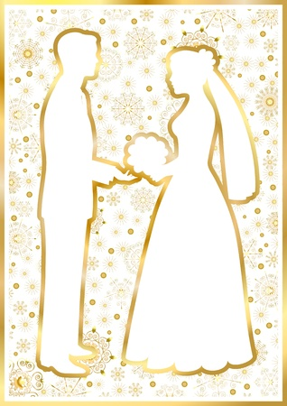 Gold bride and groom on a white square background