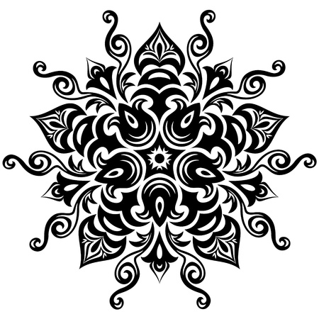 Kaleidoscopic floral pattern  Mandala in black and white Illustration