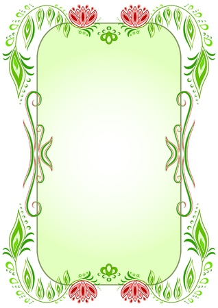 Green oval vertical floral frame Vector