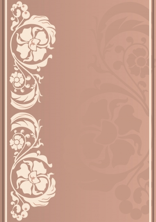 Vertical floral frame in neutral colors Vector