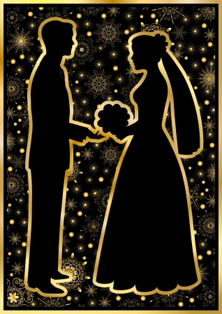 Gold silhouettes of the bride and groom on a black background Illustration