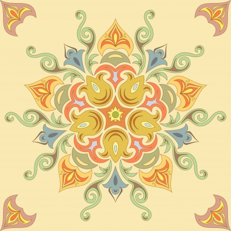 Seamless floral pattern in pastel colors  Mandala Vector