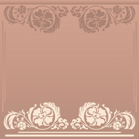 Square floral frame in neutral and beige colors