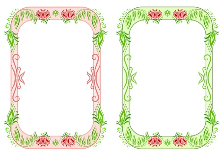 Two oval vertical floral frame Vector