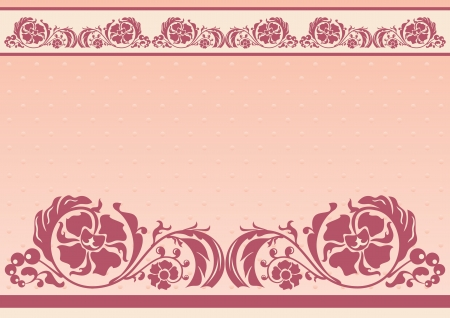 Horizontal floral frame in pink and beige colors