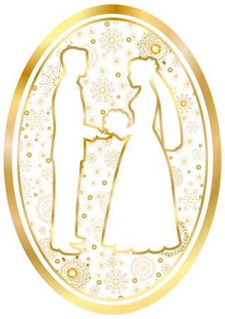 Gold bride and groom on a White background in oval