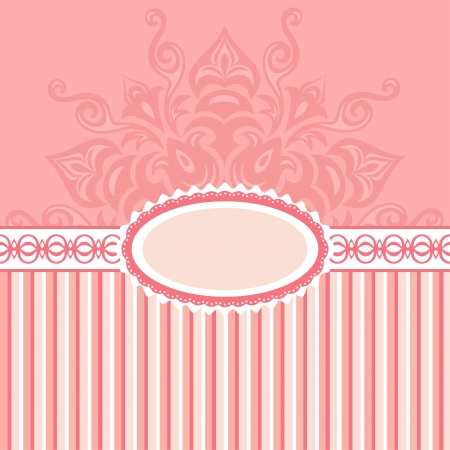 Romantic background with pattern and label_pink Illustration