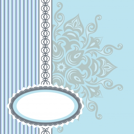 Romantic background with pattern and label  blue