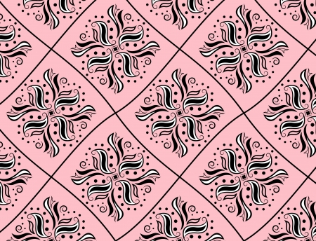 Black and white pattern like rhomb on pink background