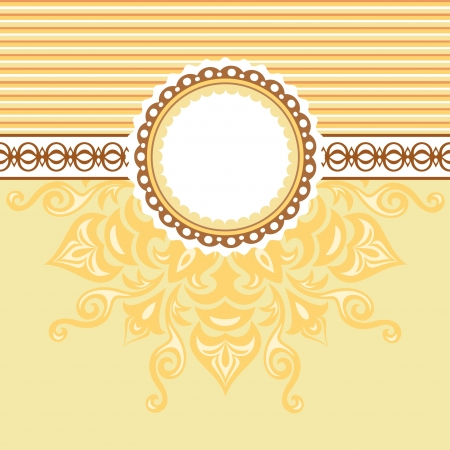 Romantic background with pattern and label  Beige and Yellow