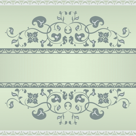 Floral pattern frame  Green and Grey