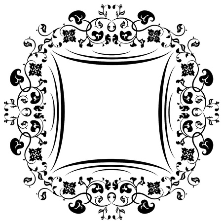 Floral pattern frame  Black and white