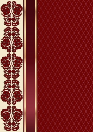 spangle: Claret valentine background with floral pattern and ribbon  Rectangle
