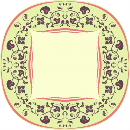 Floral pattern frame  Round  Yellow, Brown and Coral Vector