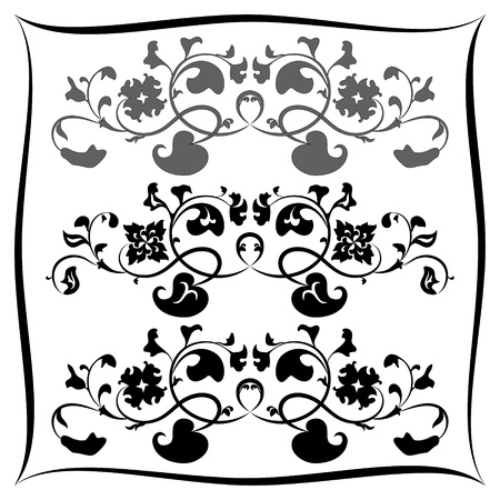 Three Black and white floral pattern  Set Illustration