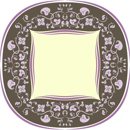 Floral pattern frame  Round  Brown and lilac Illustration