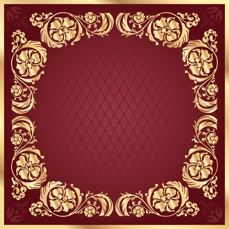 claret: Luxury gold pattern frame on claret background. Square Illustration
