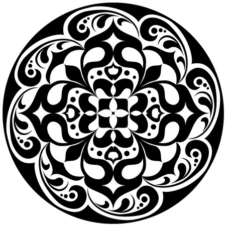 black and white image: Kaleidoscopic floral tattoo. Mandala in black and white Illustration